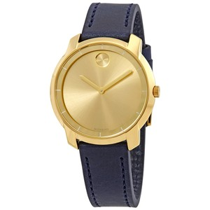 Movado Movado Bold Yellow Gold Sunray Dial Ladies Leather Watch 3600474