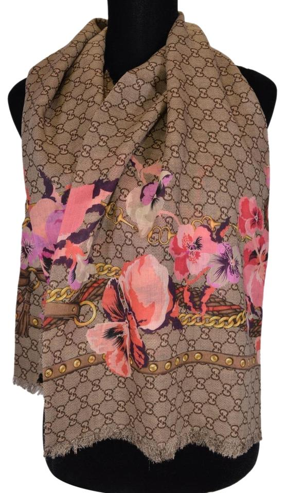 716e506dcedc3 Gucci NEW Gucci Women s 508797 Large Wool Pink Pansie BLOOMS GG Scarf Shawl  Image 0 ...