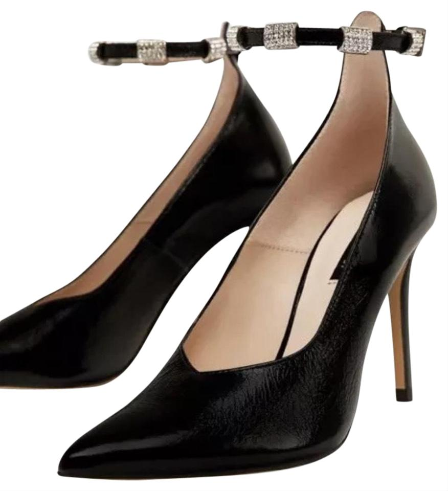 e1bcedfff5a Zara Black High Heel Court with Beaded Ankle Strap Pumps Size US 9 Regular  (M, B)