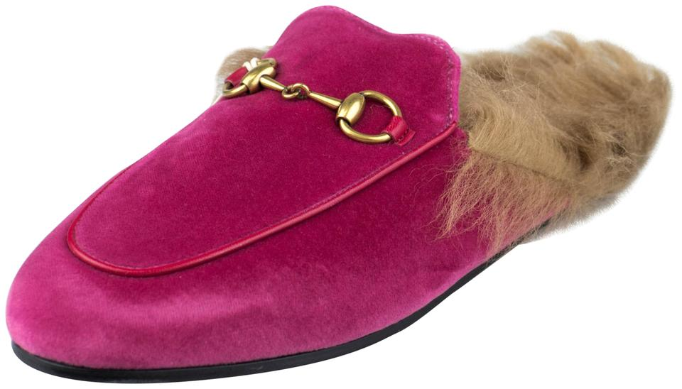 fb6ba70cabee8 Gucci Pink 'princetown' Velvet with Leather Fur Mules/Slides Size EU ...