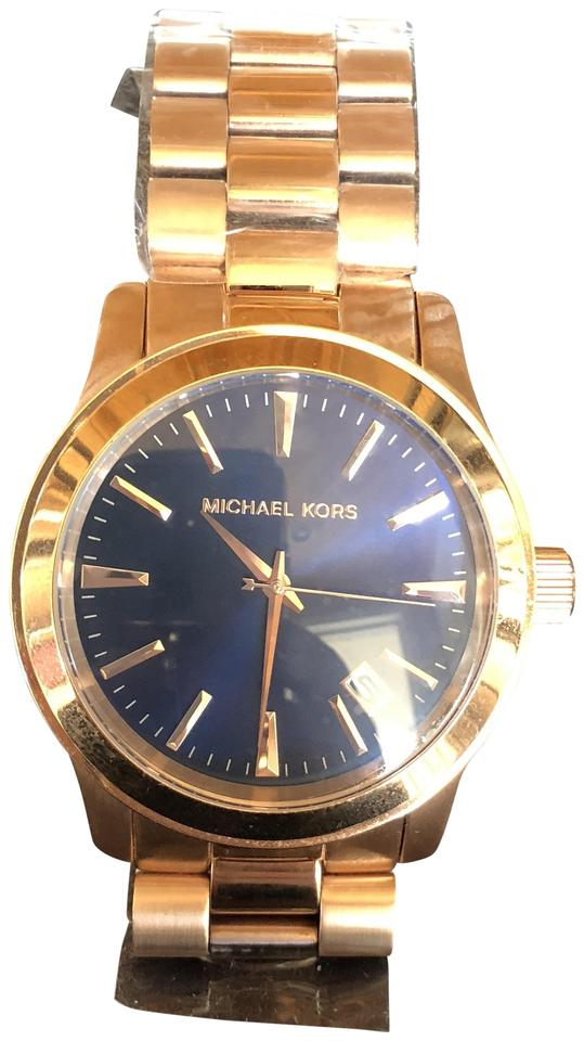 e765ed6196c2 MICHAEL Michael Kors Rose Gold with Blue Face Mk-7065 Watch - Tradesy