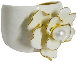 Kenneth Jay Lane Enamel Flower Cuff Bangle with Pearl Accent