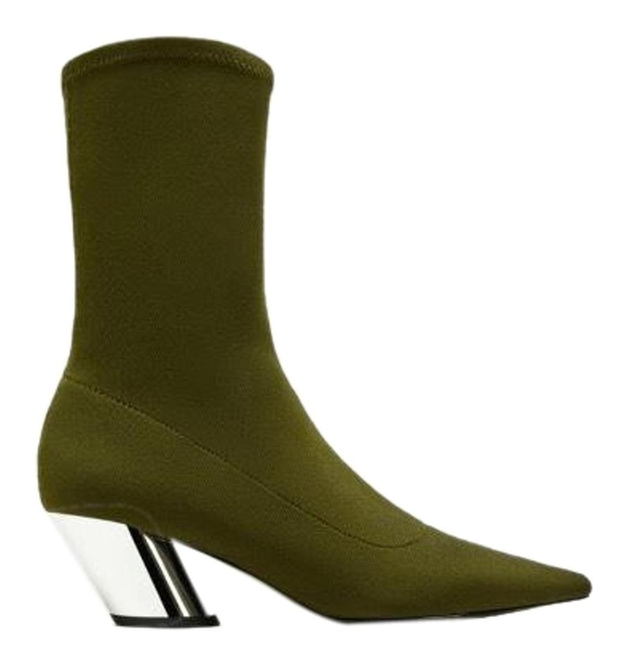 Khaki with Green Boots Blocked Booties Zara Silver Heels wqHdxFE
