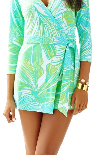 Item - Green Blue and White Karlie Wrap Romper/Jumpsuit