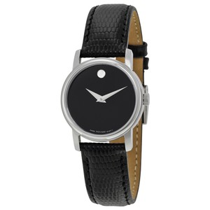 Movado Movado Museum Black Dial Black Leather Strap Ladies Watch 2100004
