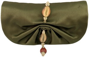 Saint Laurent Shell Beaded Satin Front Flap green Clutch