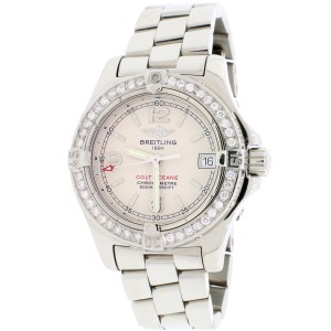 Breitling Colt Oceane 33MM Ivory Dial Ladies Steel Watch A77380 w/Diamond Bezel