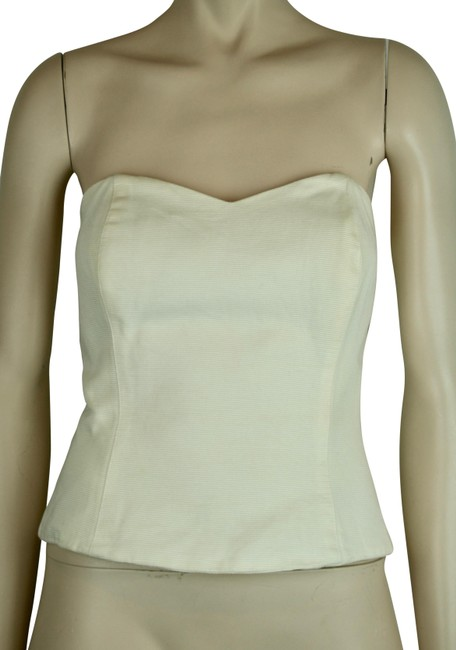 ea5a853957a Cotton Strapless Concealed Zipper   Boning Off White Ivory Cream Top ...