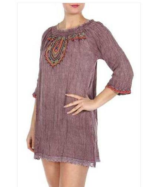 Shoreline Purle New Quarter Sleeve Embroidery Tunic Blouse Size 4 (S) Shoreline Purle New Quarter Sleeve Embroidery Tunic Blouse Size 4 (S) Image 1