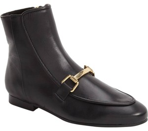 Topshop Leather Ankle Loafer Metallic Black Boots