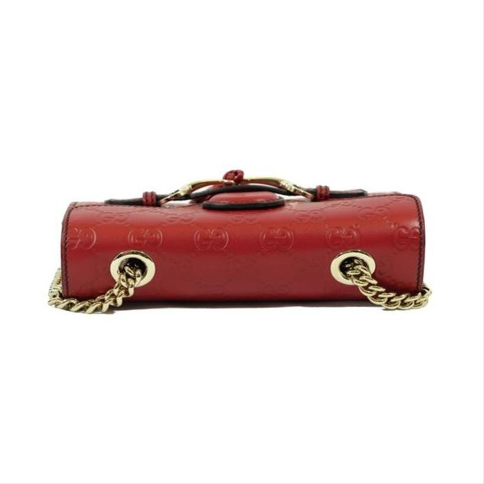 b610188743f96 Gucci Emily 449636 Guccissima Mini Purse Red Leather Cross Body Bag -  Tradesy