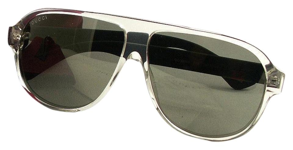 f2c5ede91bb Gucci Gucci GG0009S 005 Aviator Crystal Black Mirrored Sunglasses NEW!