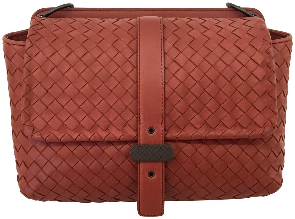 f83596082b60 Bottega Veneta Double Sided Intrecciato Red Brown Leather Shoulder ...