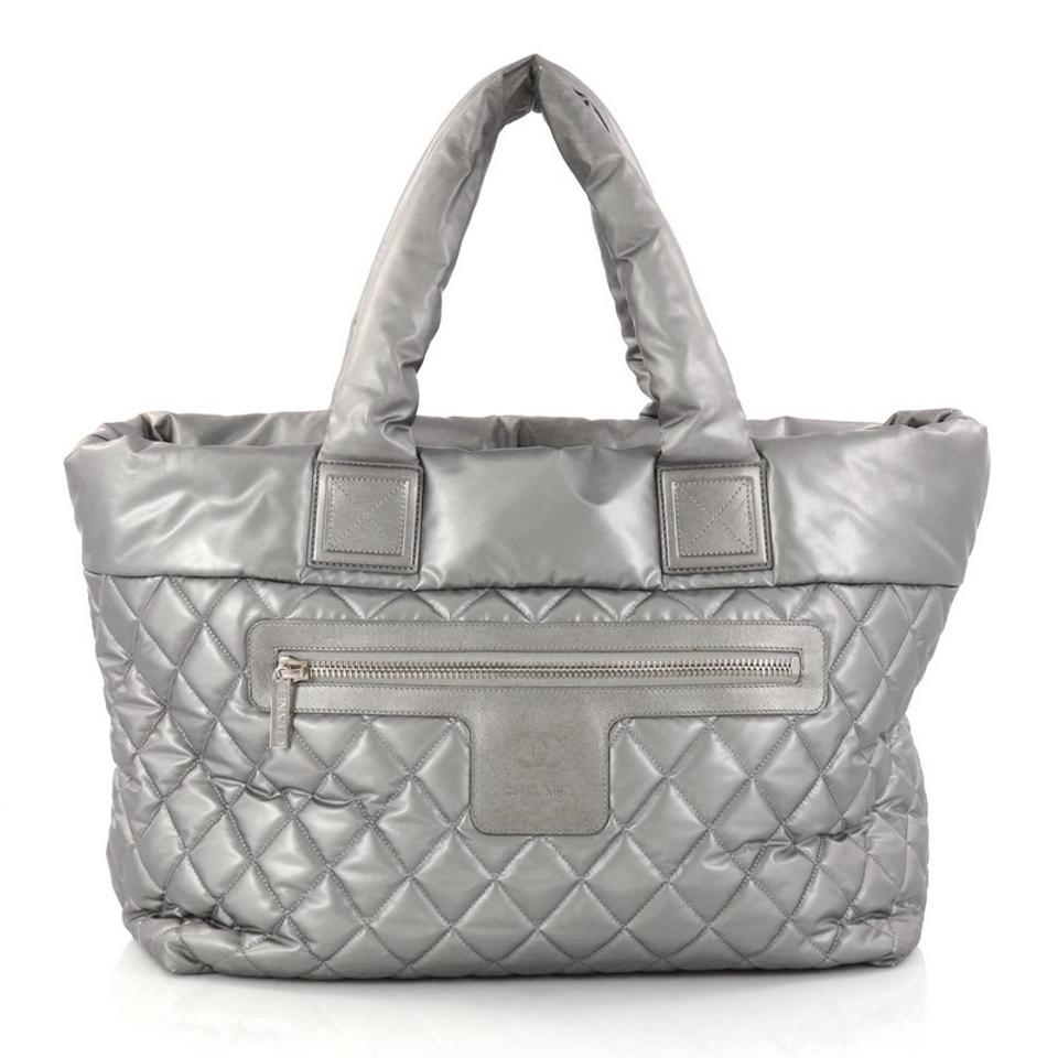 3cfc2cb487fa Chanel Cocoon Coco Zipped Quilted Large Silver Nylon Tote - Tradesy