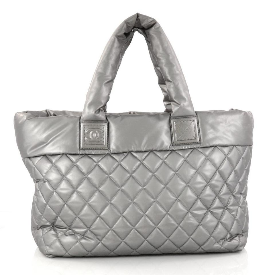 d8af41b0b503 Chanel Cocoon Coco Zipped Quilted Large Silver Nylon Tote - Tradesy