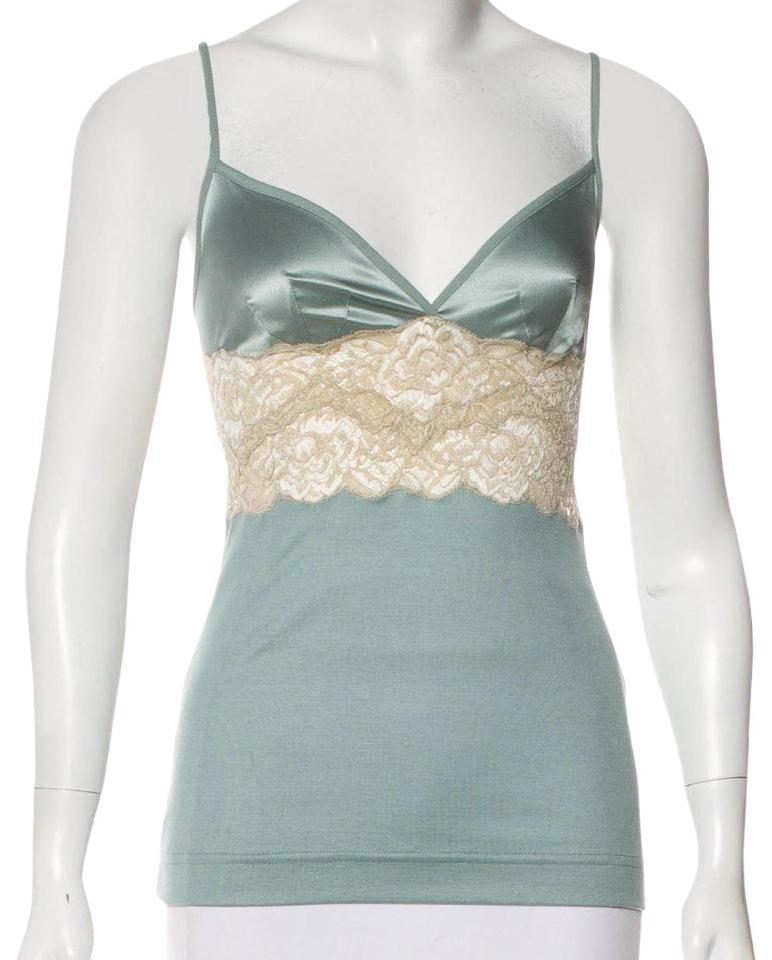 225ea0e1071fd Dolce Gabbana Blue Green New Dolce and Gabbana 44 Blouse Camisole Lace  Trimmed Tank Top Cami