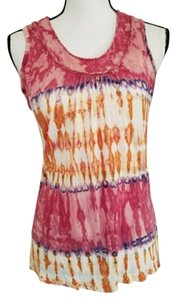 Parsley & Sage Tie Dye Tie Dye Sleeveless Spring Summer Top Pink, White