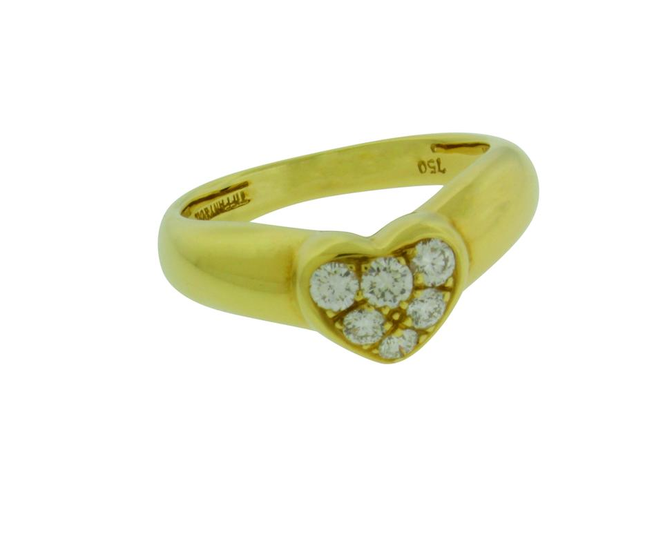 Tiffany Amp Co Yellow Gold Co Pave Diamond Heart In Ring