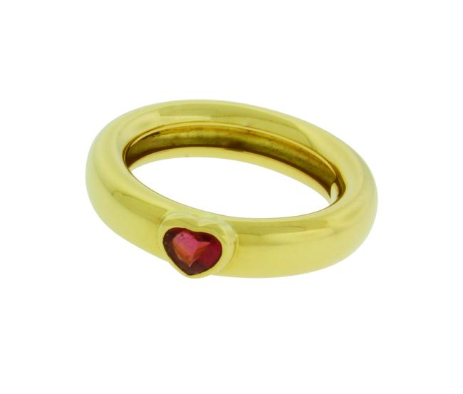 Item - Yellow Gold Co Pink Tourmaline Heart In Size 6 Ring