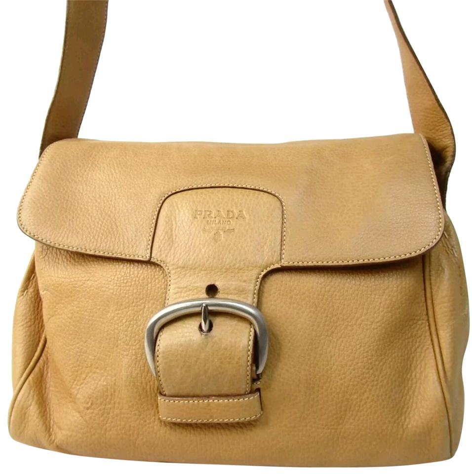 8c2dc06883a9 Prada Messenger Brown Tan Mustard Satchel Tote Yellow Leather ...