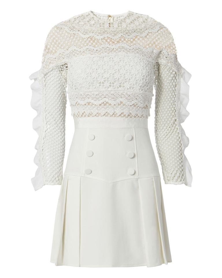 cc9944d663b self-portrait White Bellis Lace Trim Frilled Sleeves Mini Cocktail Dress
