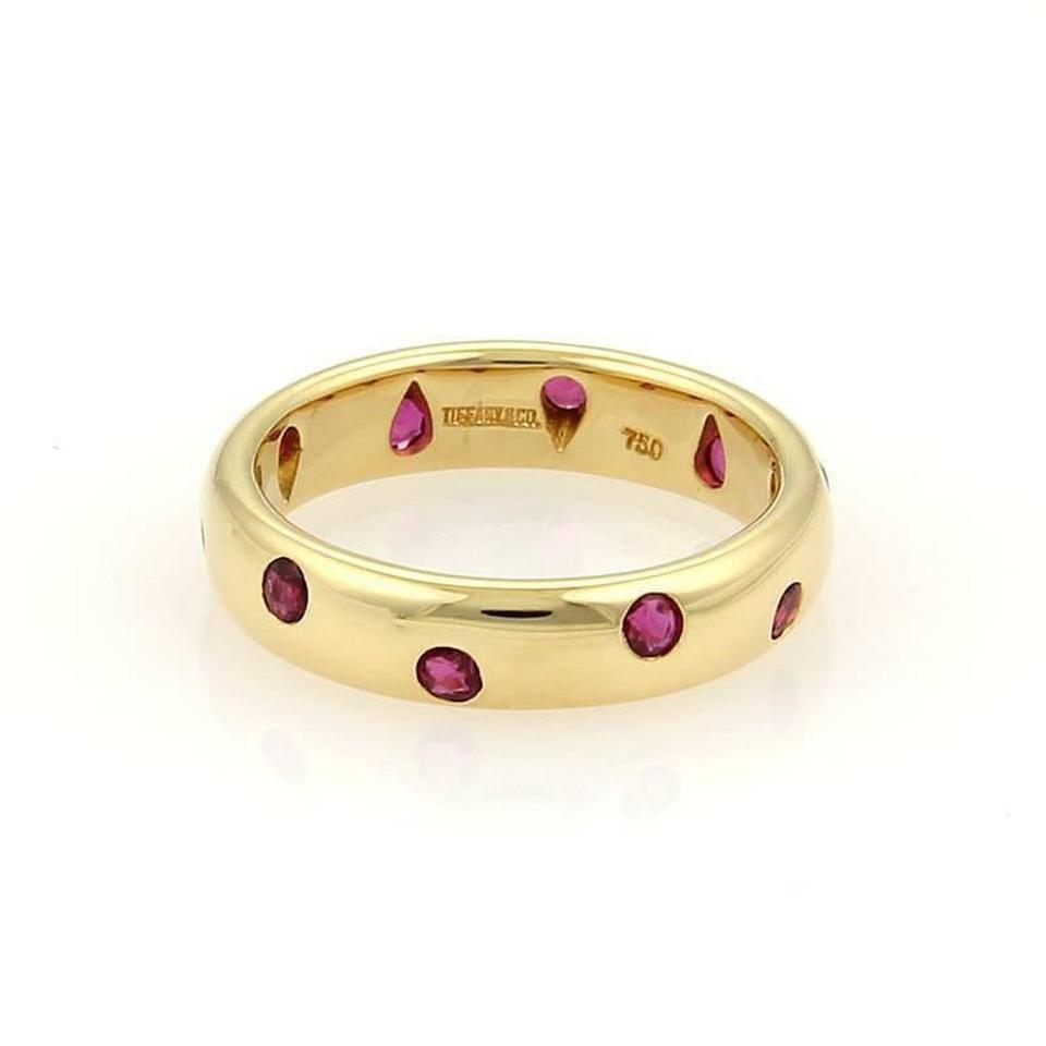 7aed61a3b537a Tiffany & Co. Etoile Ruby 18k Yellow Gold 4mm Wide Dome Band Size 5 Ring