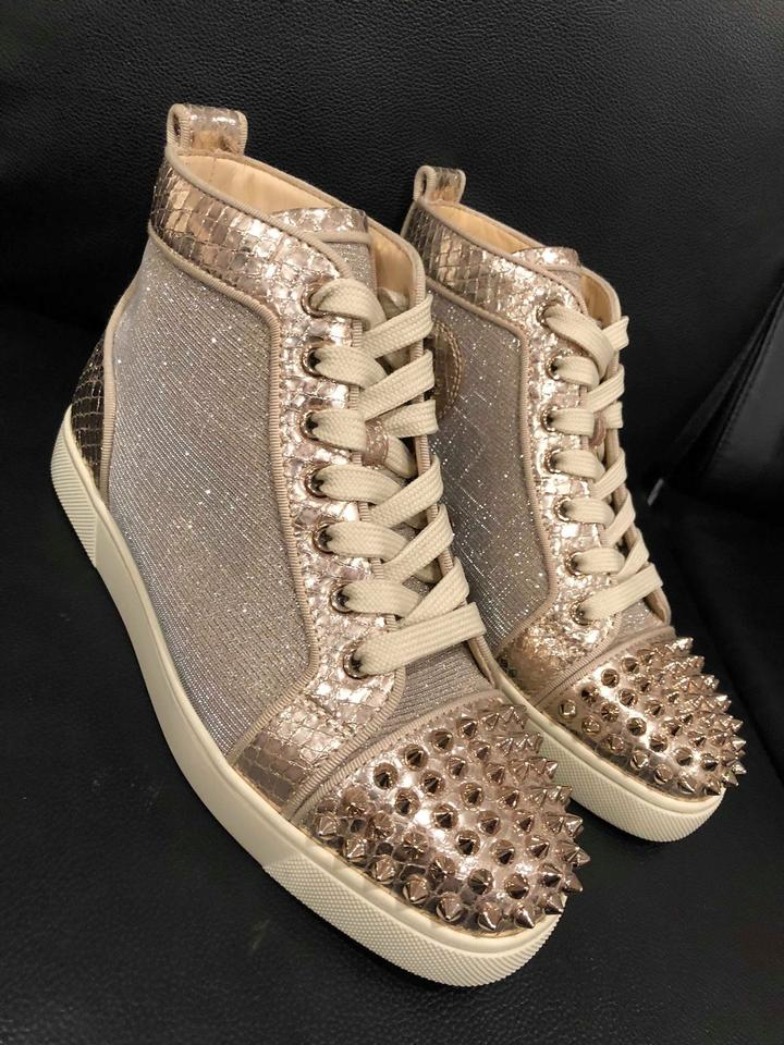 5480dc47b4a9 Christian Louboutin Lou Spike Trainer Sneaker Glitter gold Athletic Image  11. 123456789101112