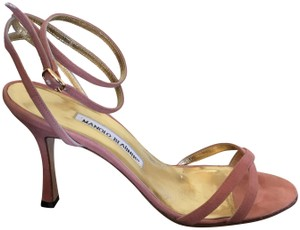 Manolo Blahnik Strappy Leather Pink Suede Sandals