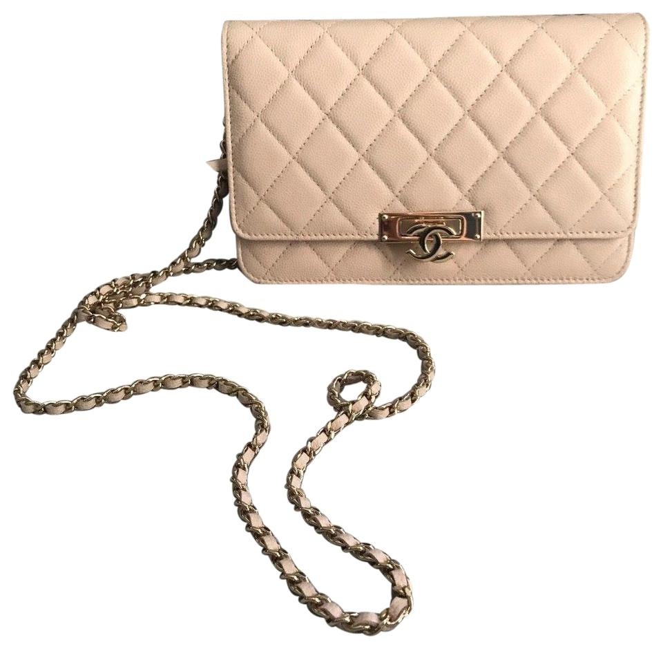 6af9584542c4 Chanel Wallet on Chain Caviar Golden Class Light Pink / Nude Quilted ...
