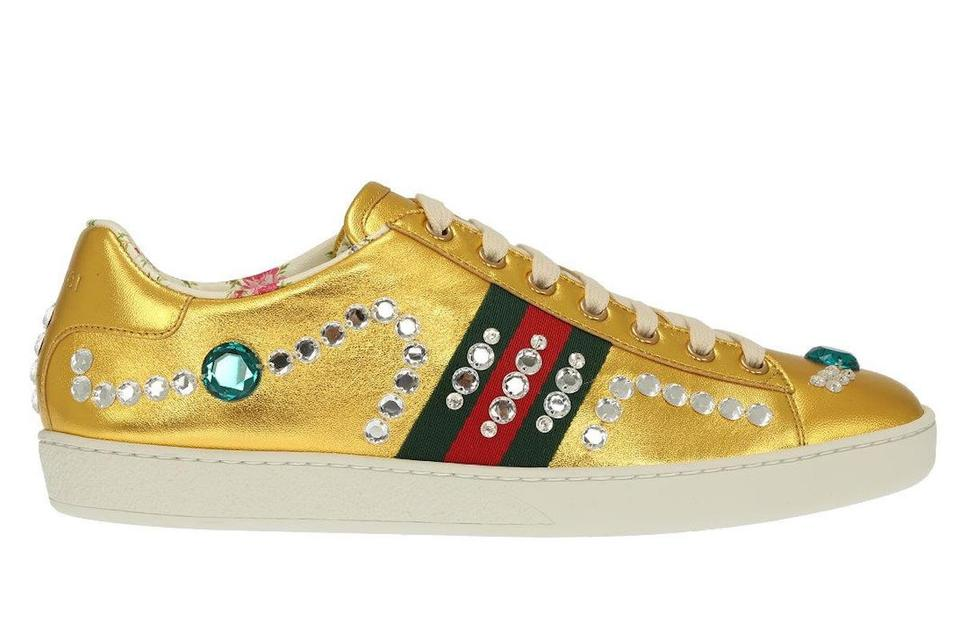 33b1cd42185d Gucci Trainer Sneaker Flat Jeweled Crystal gold Athletic Image 0 ...
