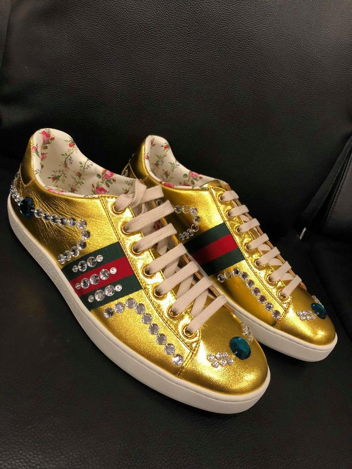 fe7ee0ee472a Gucci Gold Ace Metallic Leather Jeweled Crystal Flat Trainer Sneakers  Sneakers Size EU 39.5 (Approx. US 9.5) Regular (M