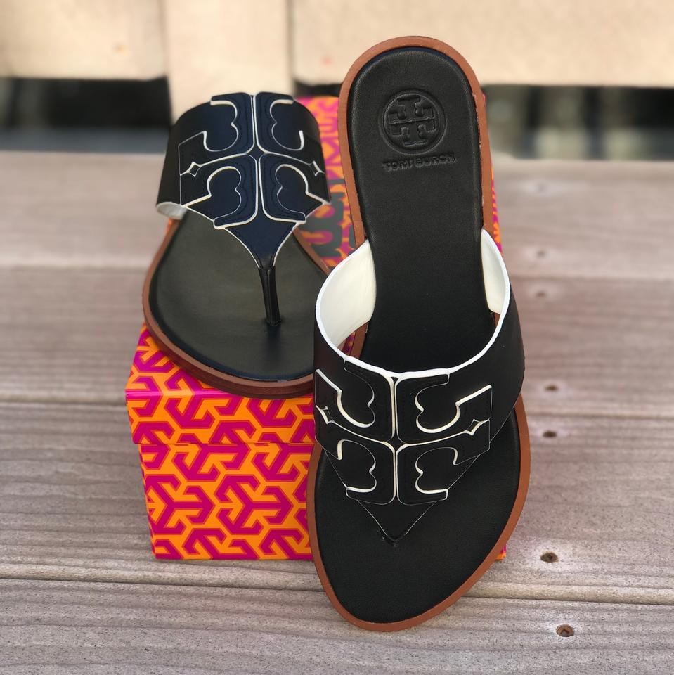 e738663391add Tory Burch Black Ivory 887 Jamie Full Logo Thong Sandals Size US 9 ...