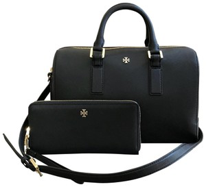 Tory Burch Saffiano Leather Robinson Leather 2 Pcs Set Satchel in Black