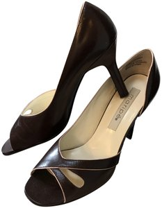 Maripé Leather Open Toe Brown with light pink on all edges Pumps