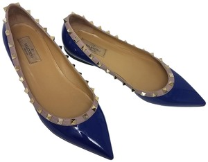 Valentino Hardware Pointed Toe Studded Rockstud Spike Blue, Gold Flats