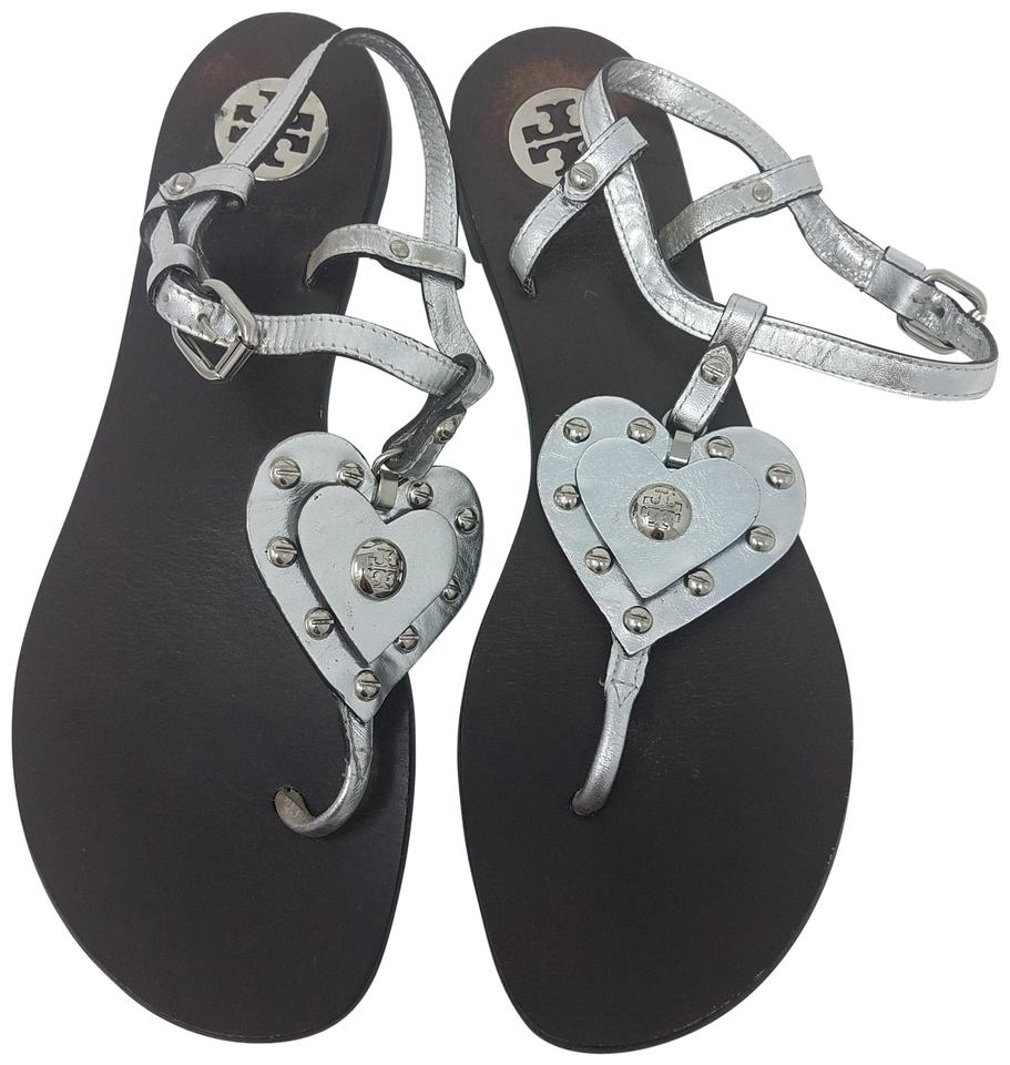 b03b682566f39d Tory Burch Metallic Hardware Reva Ankle Strap Studded Silver Sandals Image  0 ...