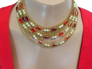 Vintage 15 strand necklace with red crystals, pearls and gold chains