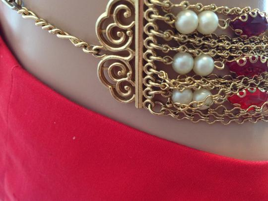 Other Vintage 15 strand necklace with red crystals, pearls and gold chains