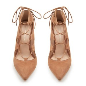 Loeffler Randall Suede Lace Up Leather Trendy Almond Sandals