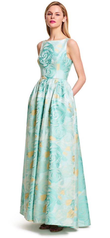 Adrianna Papell Mint Green Print Jacquard Ballgown Long Formal Dress ...