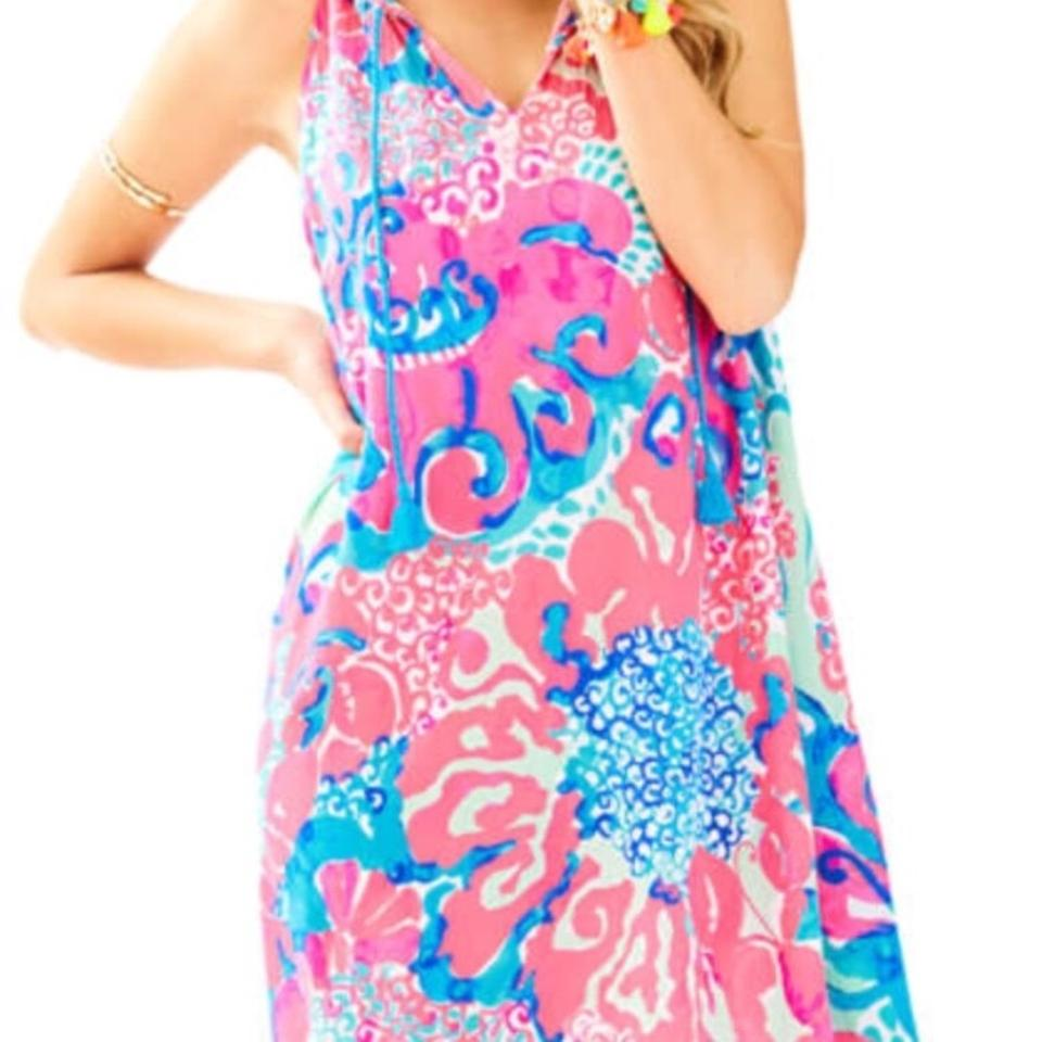 d1c8ad008a15 Lilly Pulitzer Multi- Pink Blue Roxi Short Casual Dress Size 10 (M ...