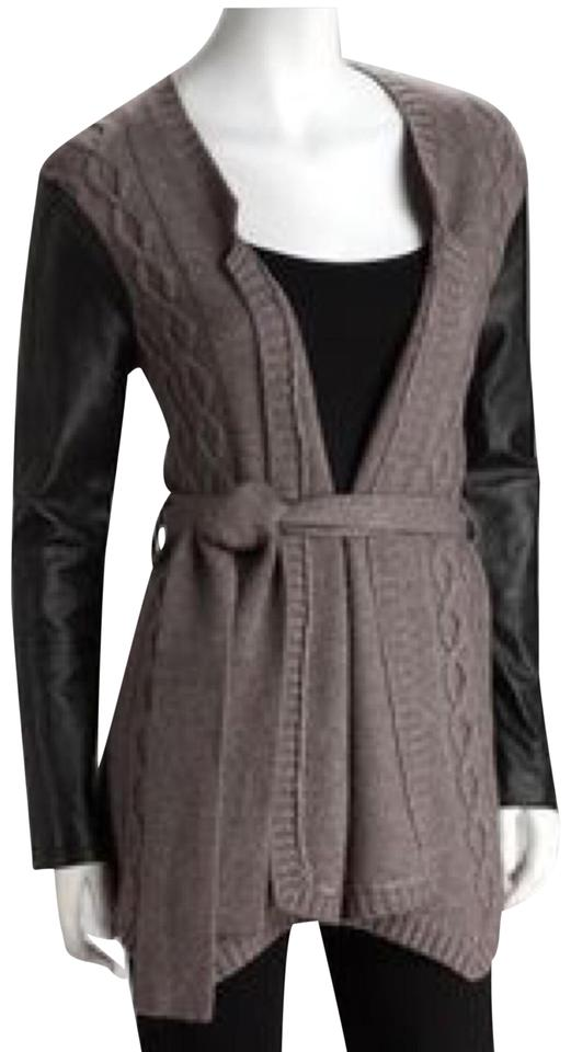 Cardigan With Leather Sleeves Brownblack Sweater Tradesy