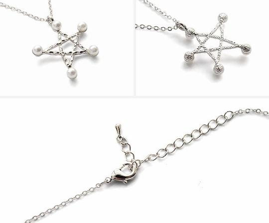 Other 9K White gold & Pearl Star Necklace
