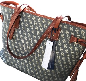 Dooney & Bourke Tote in Gray/Tan Leather Trim