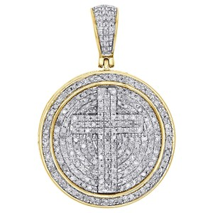 Jewelry For Less 10K Yellow Gold Diamond Cross Circle Medallion Pendant Charm 1.03 CT.