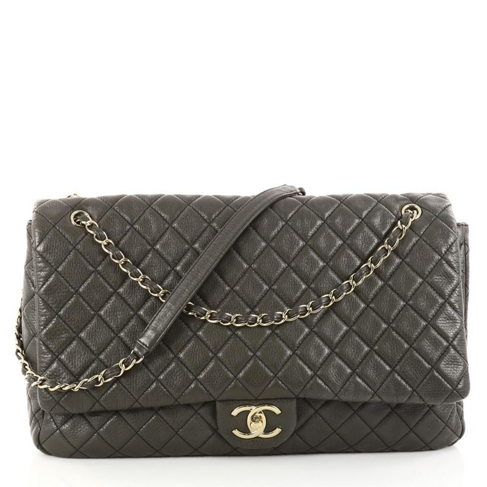 0147fa60007c Chanel Classic Flap Airlines Cc Quilted Calfskin Xxl Olive Green ...