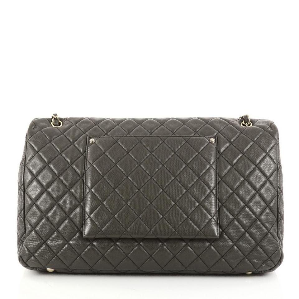 4252d94d0ad2 Chanel Classic Flap Airlines Cc Quilted Calfskin Xxl Olive Green Leather  Shoulder Bag