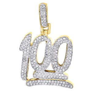 "Jewelry For Less 10K Yellow Gold 100 Number Emoji Diamond Pendant Mens 1"" Charm 1/2 Ct."
