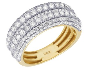 Jewelry Unlimited Mens 10K Yellow Gold Multi Row Diamond Engagement Wedding Ring Band