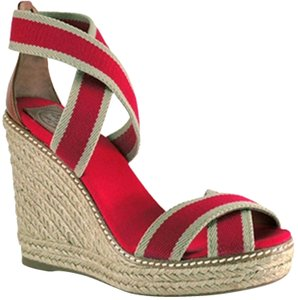 6b5cb21245d4 Tory Burch Heels Summer Sandals Red and Beige Wedges